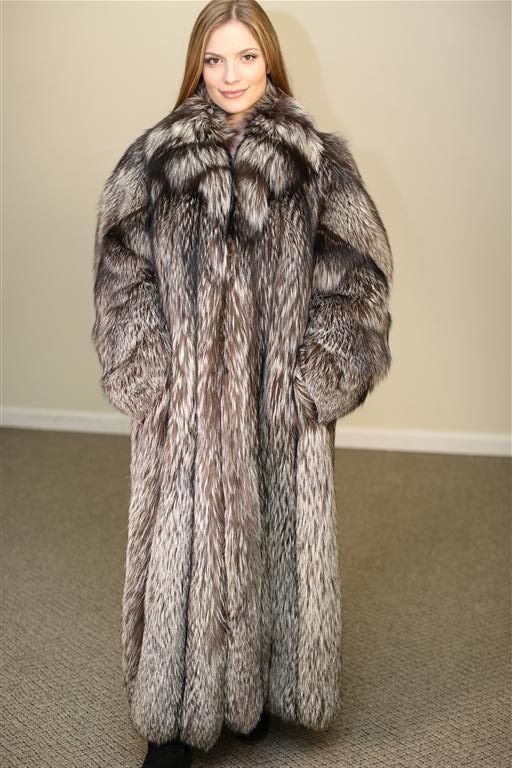 "Natural Russian Silver Fox 50"" long coat"