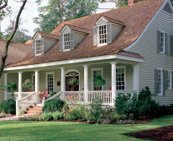 House plans front porches and family homes on pinterest for Colonial garage