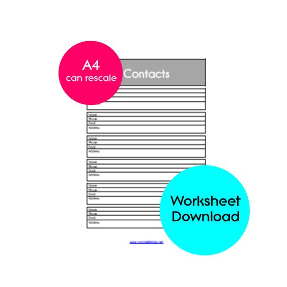 Address Planner Printable, Contact List, Addresses, A4 (INSTANT - printable contact list