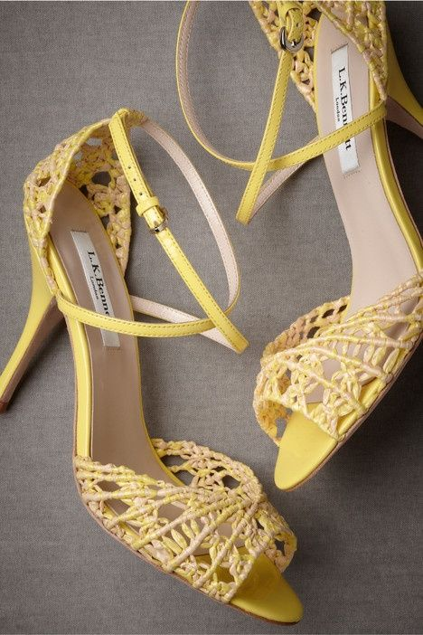 yellow hollow-out sandals