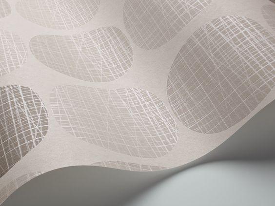ECO Decorama 4127 Vlies-Tapete Retro-Kreise in zartem grau glänzend schraffiert