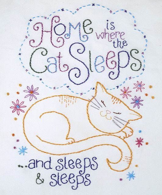 Embroidery cats and sleep on pinterest