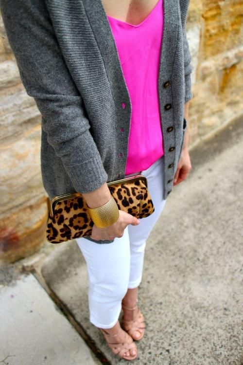 love this look- the pop of pink paired with the grey and white and looove the clutch!