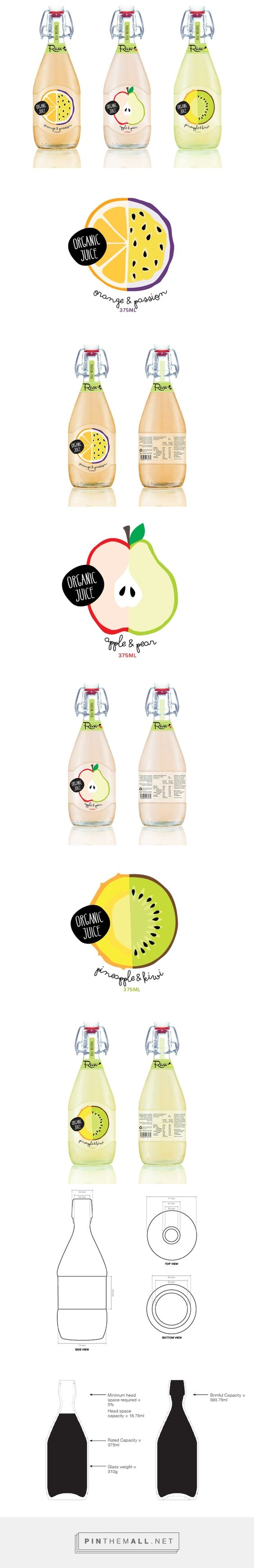 Raw Juice Bottle on Behance by Kenya Carroll curated by Packaging Diva PD.  Love juice packaging concept for Southern Cross Packaging Competition.: