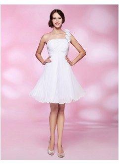 Chic A-line One-shoulder Mini-length Chiffon Bridesmaid Dress/Homecoming Dress