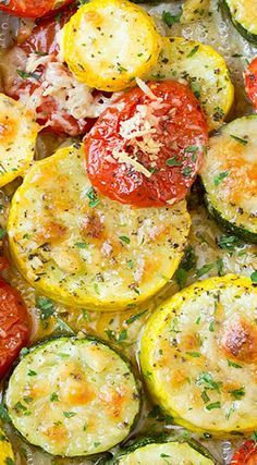 Roasted Garlic-Parmesan Zucchini, Squash and Tomatoes
