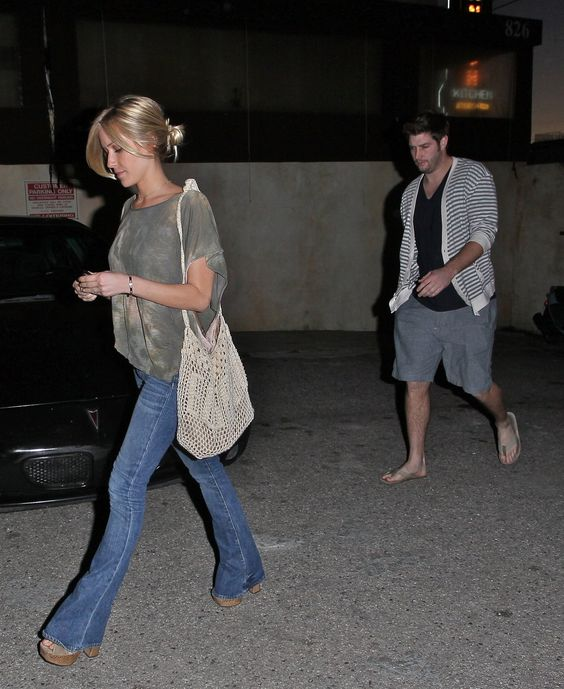 Kristin Cavallari and Jay Cutler sheer grey shirt bellbottom jeans brown belt striped cardigan grey shorts  expecting baby pregnant