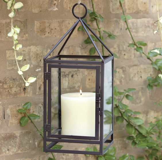 hanging candle holder lantern great for outdoor/patio lighting and ambiance!