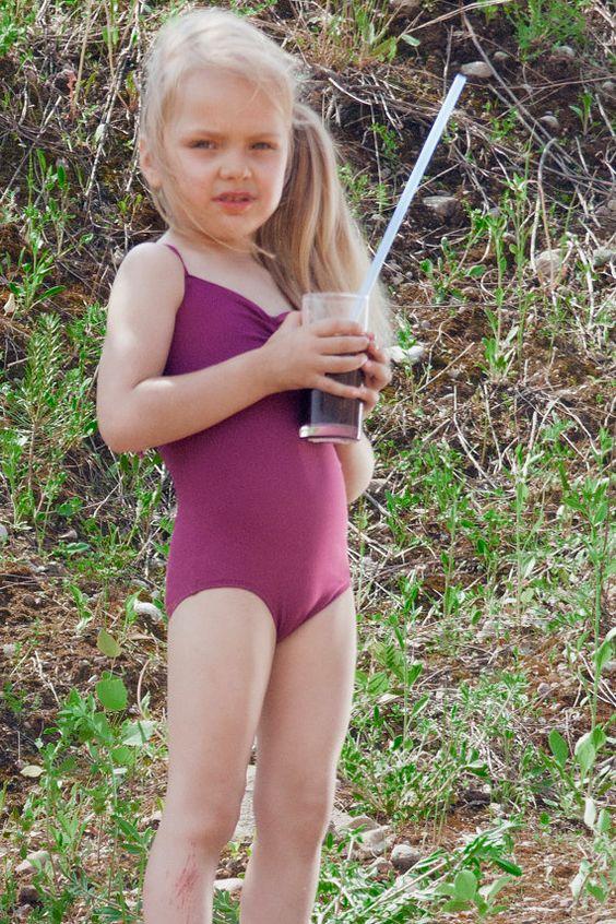 Baby Girl Deep Magenta Color Color Purple Swimwear Retro