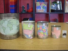 Loooooove this!  map nesting cans - my town is inside my state which is inside the US which is inside...