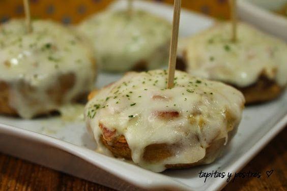 Champiñones rellenos de bacon y queso (20 min, appetizers) - Oohh Dios que delicia!!!!!!!!!!
