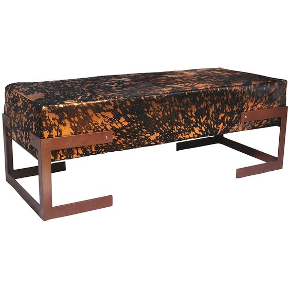 Rose Gold bench with a seat upholstered in high quality. Rose Gold / Brown hide sat atop a solid metal frame. Very boutique hotel, this Rawhide Bench could be placed at the end of your bed.* No Hide is similar range from medium to light