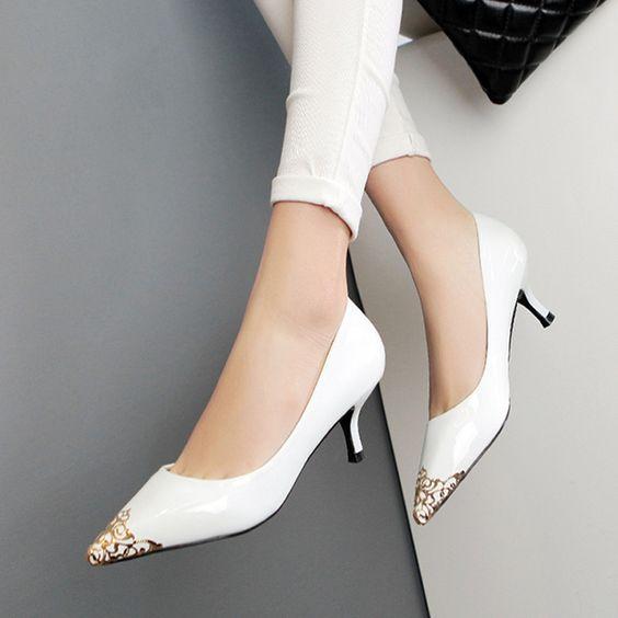 Pastel Pink Patent Gold Tip Kitten Heel Shoes. | BlushStyle
