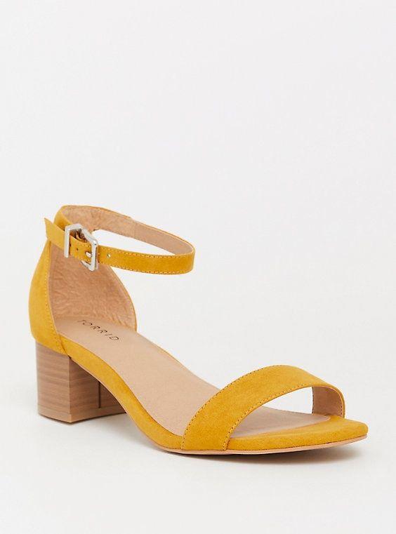 Mustard Faux Suede Block Heel Sandal