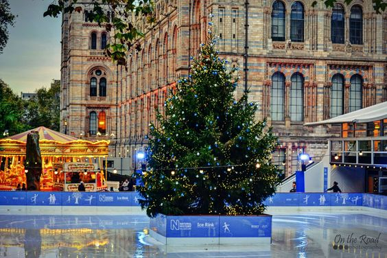 Ice rink on the East Lawn of the Natural History Museum in London.