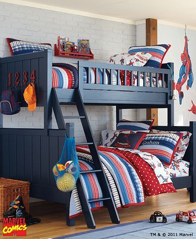 Twin over Full Bunk  Pottery Barn Kids: Spiderman Bedroom, Barn Kid, Kids Bedroom, Kids Room, Kidsroom, Bunk Bed, Bunkbed, Boys Room, Boy Room