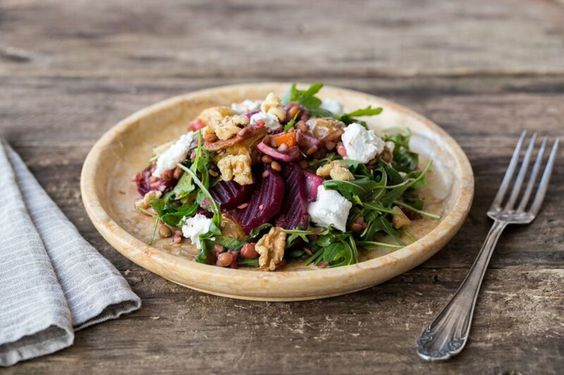 Roasted Beet and Lentil Salad with Feta Cheese, Arugula, and Walnuts ...