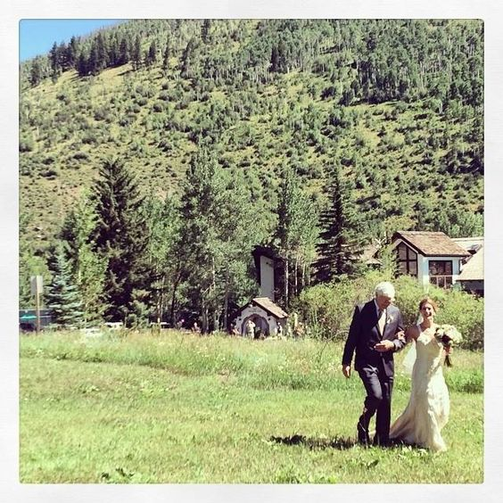 Vail Racquet Club Mountain Wedding.  Mountain ceremony.  Outdoor ceremony.  Blue sky Colorado wedding.