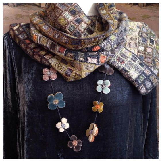 Irresistible hand crocheted scarf and velvet necklace by Parisian designer Sophie Digard.: