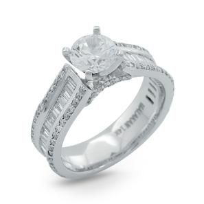 White Gold Semi-Mount Engagement Ring with Baguette Diamonds in a Channel…