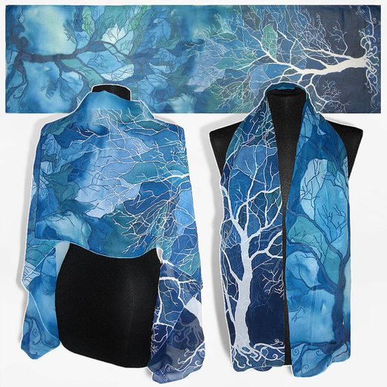 Long silk scarf ' Trees in blue ' hand painted scarves by MinkuLUL