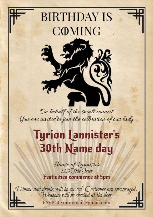 Digital Game Of Thrones Birthday Invitation Game Of Thrones Birthday Game Of Thrones Party Game Of Thrones Cake