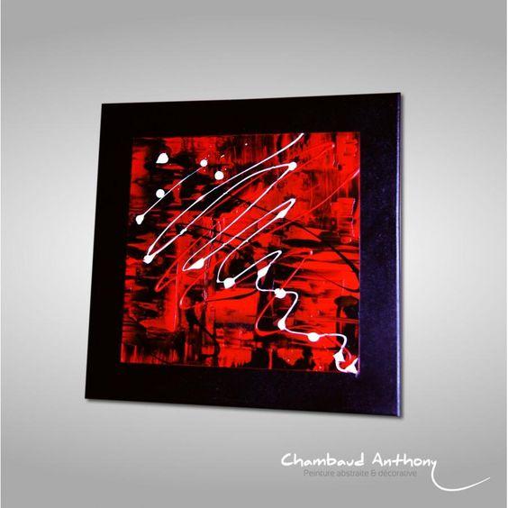 tableau rouge noir et blanc les bords du chassis sont peints en noir donnant un parfait. Black Bedroom Furniture Sets. Home Design Ideas