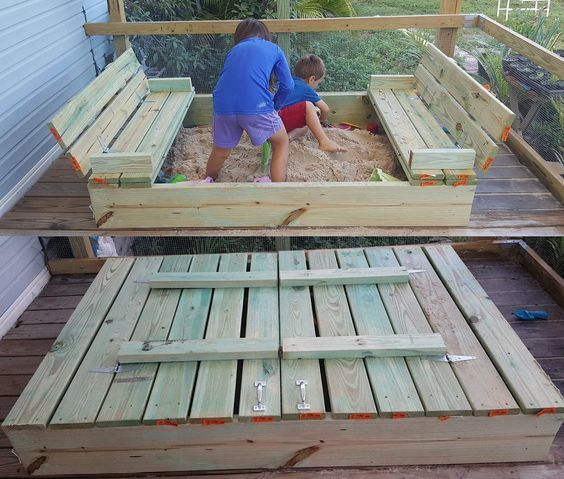 Diy Covered Sandbox With Fold Out Bench