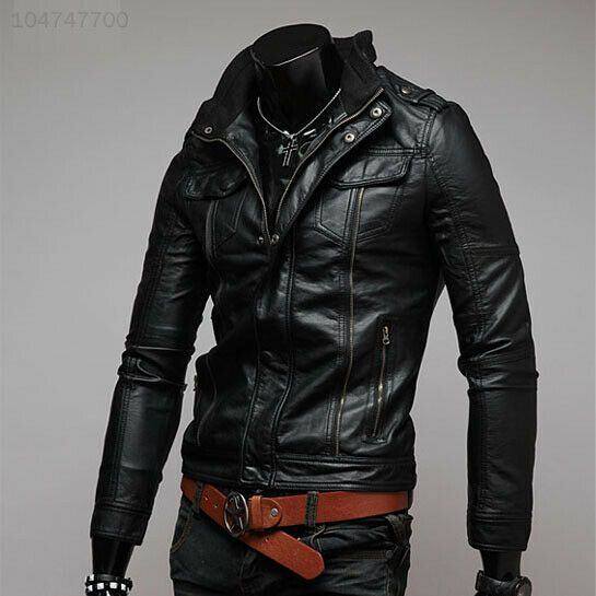 Outwear New Jacket Motorcycle Fashion Leather Warm Zipper Men/'s Fit Slim Coat