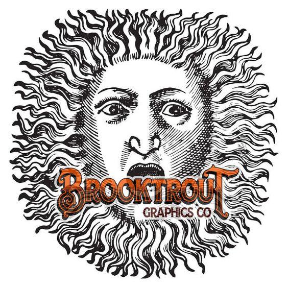 Sun Face Vector Clip Art by BrooktroutGraphicsCo on Etsy