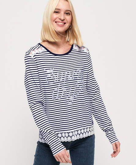 Superdry Damen Shirt Sienna Oberteil mit Grafik Langarmshirt