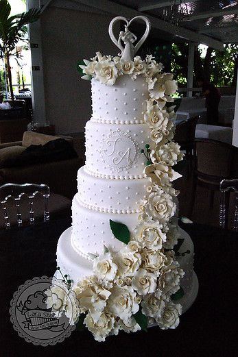 White rose cascate wedding cake