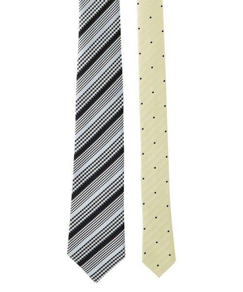 Necktie(ネクタイ)のレジメン千鳥チップドットタイ BLACK×GRAY(ネクタイ)|ブラック×グレー