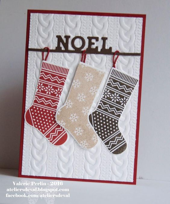 Cute! Cable sweater embossing folder with the punch stamp set stockings…:
