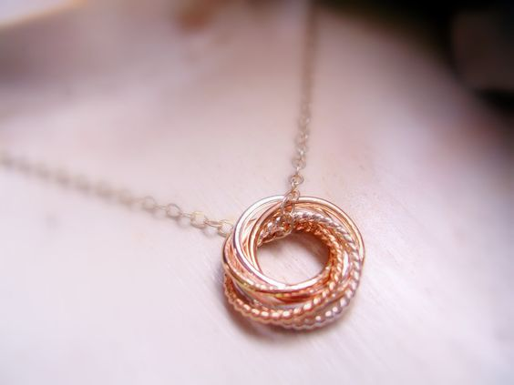 Dainty Entwined Six Rings Necklace Two Tone Love Knot Necklace for 60th Birthday Gift, 6th Anniversary Gift MADE TO ORDER by NatsukoJewelry on Etsy https://www.etsy.com/listing/192782332/dainty-entwined-six-rings-necklace-two