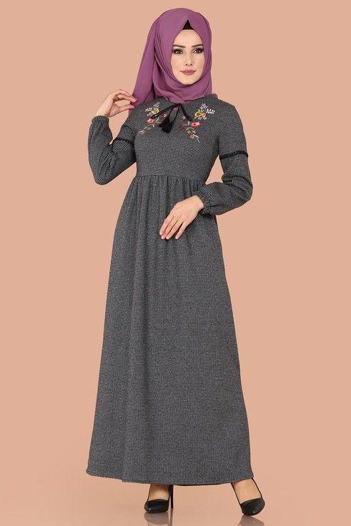 Elbise Nakisli Kislik Elbise 5425mp186 Fume Maksi Elbiseler Elbiseler Elbise