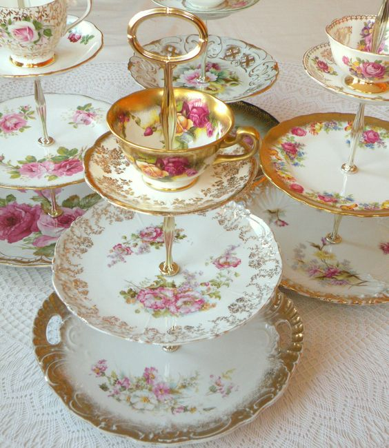 A group of our High Tea for Alice 3-tiered rental tea stands, cake plates and cupcake towers with cup and saucer available for rent in Orange County, Southern California and beyond for weddings, bridal teas, baby showers, princess birthday parties and more...: