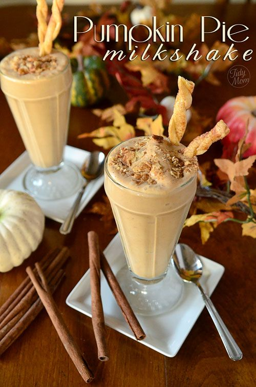 Pumpkin Pie Milkshake with pie crust straws via @TidyMom
