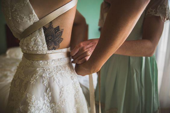 - Bride - Lotus Tattoo - Side - Flank - Helen Wedding Dress - Shareen Bridal Design - Costa Rica Wedding - Playa Langosta - Tamarindo -