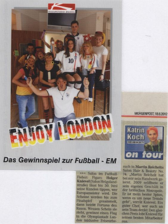 The team at Friseurstudio Knievel salon in Dresden supporting the German football team