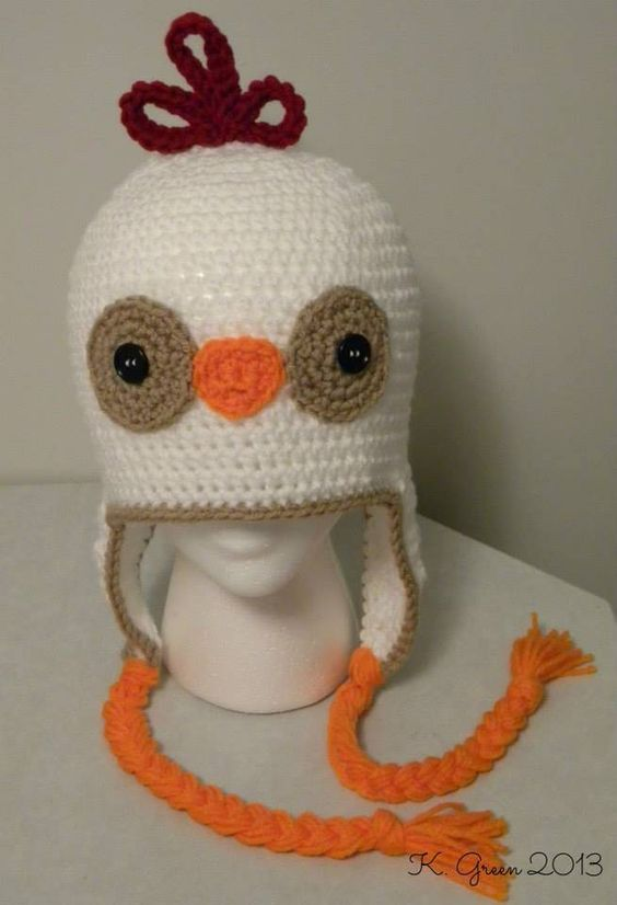 Crochet Chicken Earflap Hat DIY Pattern