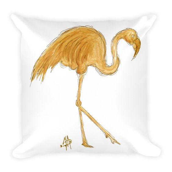 Gold Flamingo Pillow