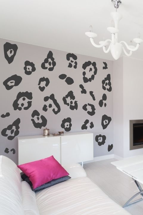 Elegant Leopard Print Wall Decals Black U0026 Pink   Or Choose Your Own Color  Combination | For The Crypt | Pinterest | Wall Decals, Leopards And Walls Part 11