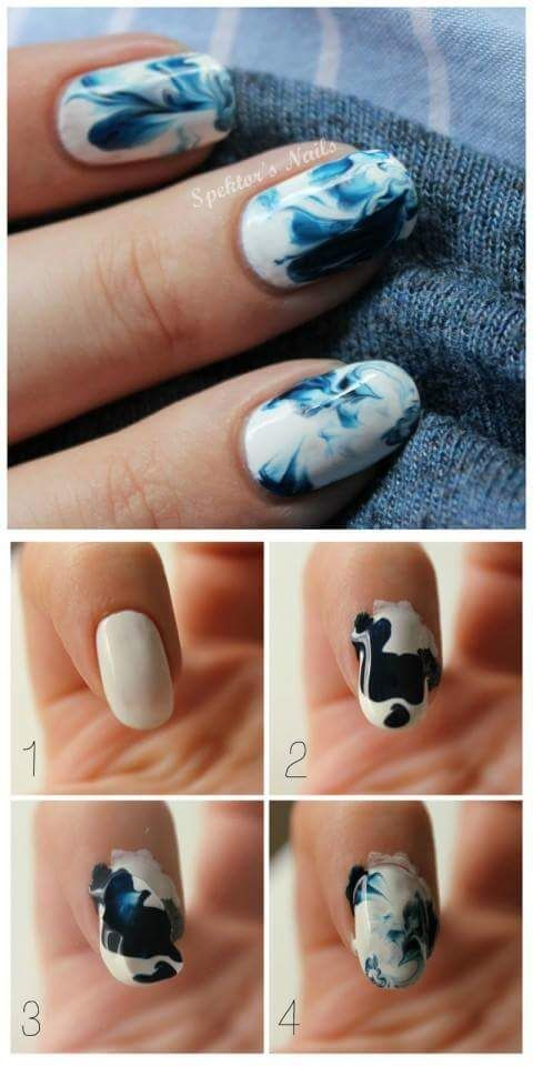 Tutorial On White And Blue Diy Spring Nail Idea For Oval Nails