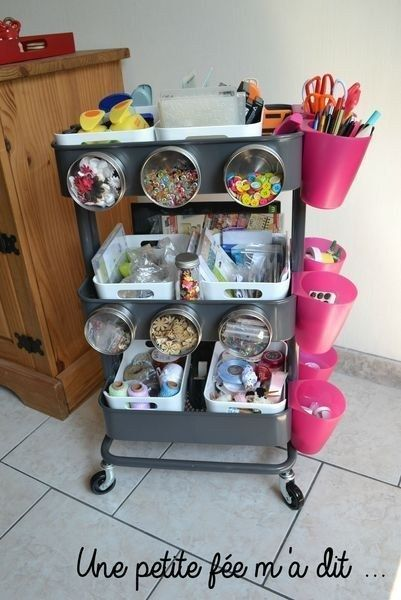 Since it's metal, you can attach those magnetic storage tins have small notions handy!