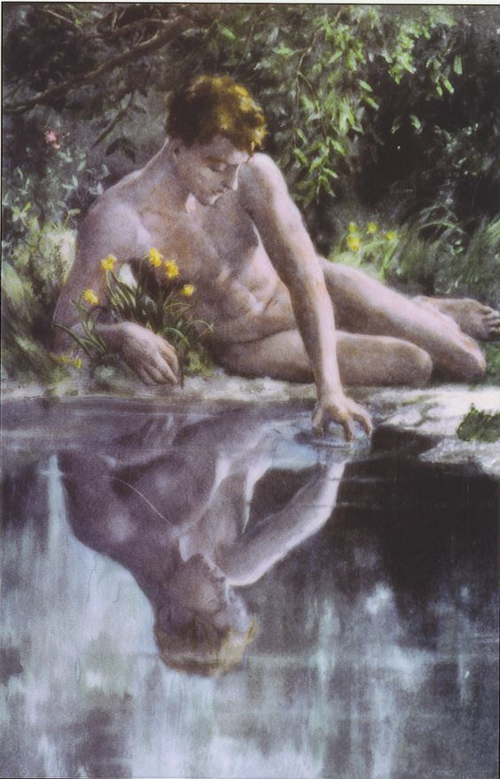 Upon seeing his reflection in a pool of water, Narcissus is so entranced that he forgets to eat or sleep, slowly dying of self-neglect. Echo, ever loyal, echoes his cries of pain with her own. At last, rather than seeing such beauty lost, the gods transform the boy into a flower, the narcissus.: