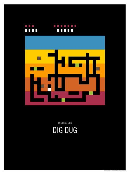Minimal NES - Dig Dug Art Print
