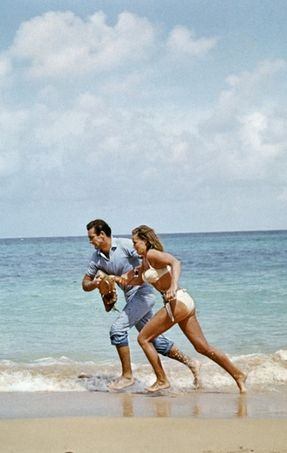 James Bond & Ursula Andress running in Dr. No