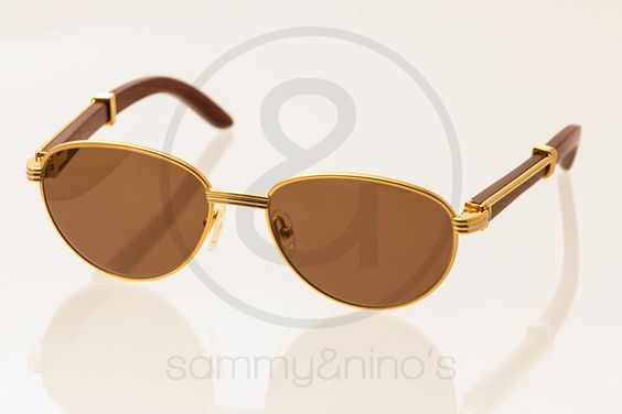 Image of Cartier wood gold 52-16 :: Vintage Sunglasses