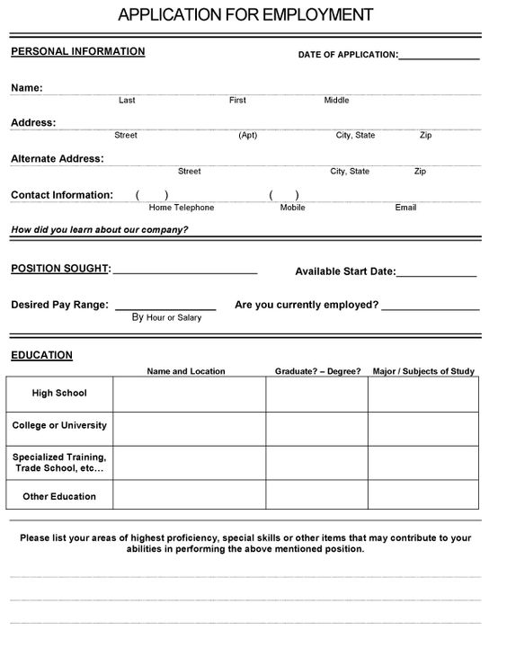 mccoskie clark (mccoskie) on Pinterest - basic employment application